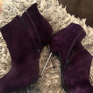 Deep purple stiletto booties